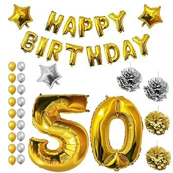 BELLE VOUS 50 Cumpleaños Globos - Decoraciones de Cumpleaños - Feliz Cumpleaños Bandera - Cumpleaños Fiesta Conjunto - Pompones - Decoración Globo de ...
