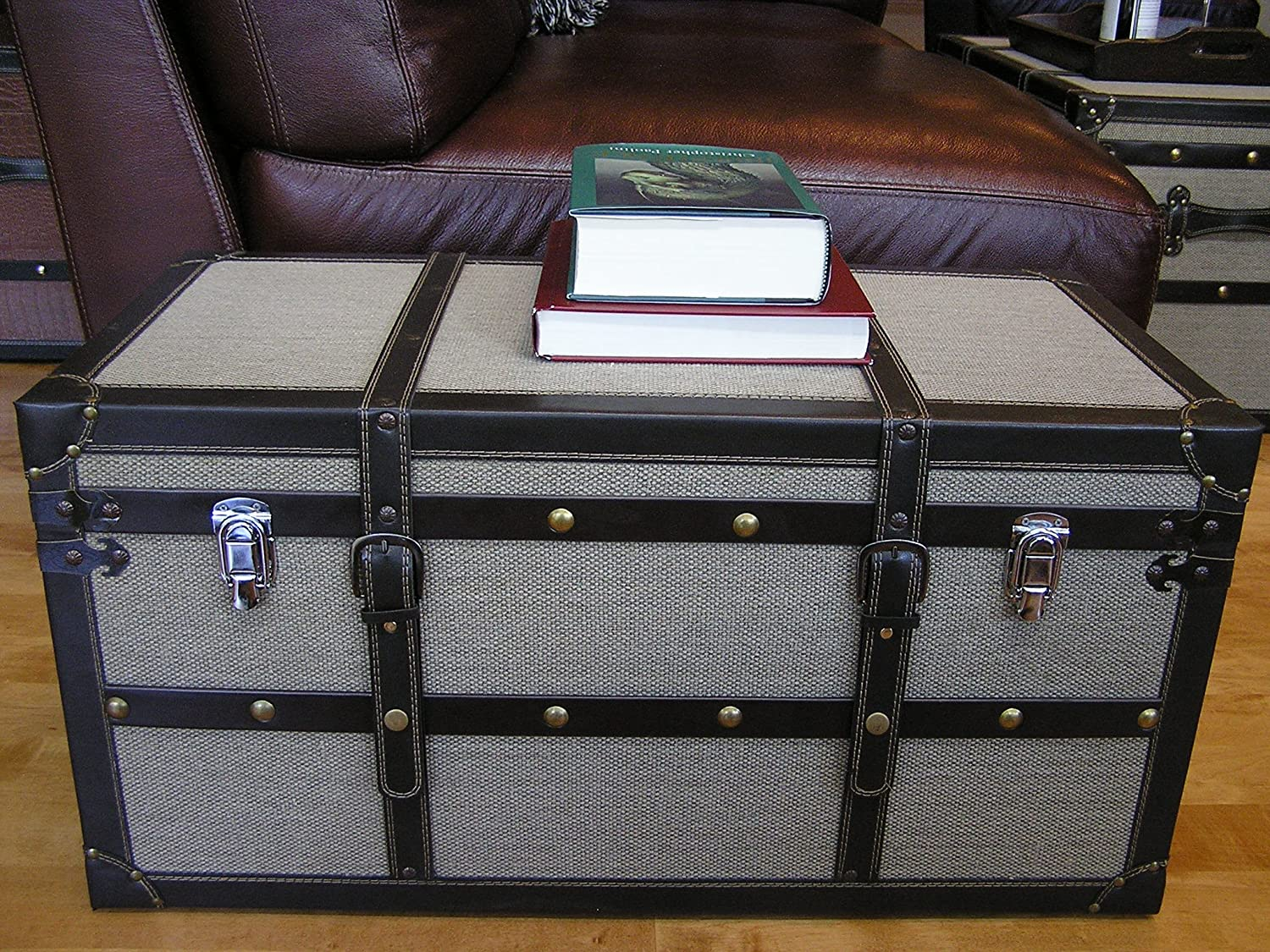 Amazon.com: Decorative Vienna Large Wood Steamer Trunk Wooden Treasure Hope  Chest: Kitchen U0026 Dining