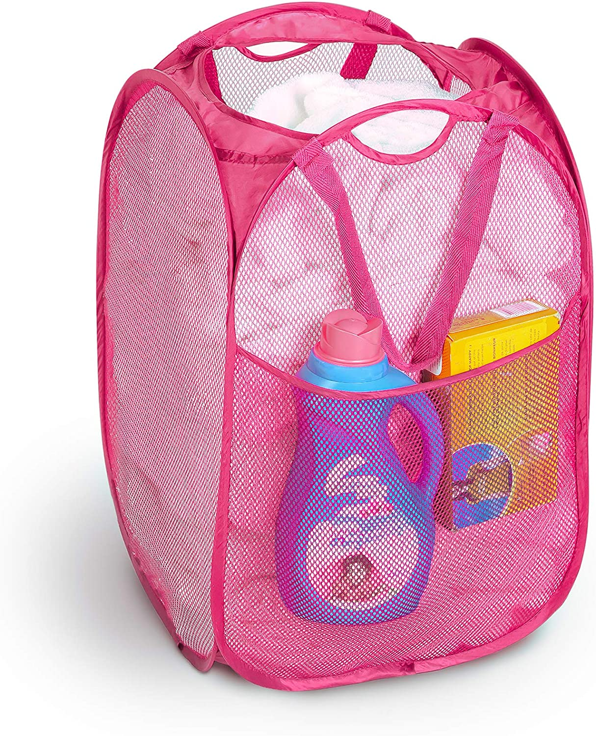Smart Design Deluxe Mesh Pop Up Square Laundry Hamper w/ Side Pocket & Handles - VentilAir Fabric Collapsible Design - for Clothes & Laundry - Home - (Holds 2 Loads) (14 x 23 Inch) [Pink]