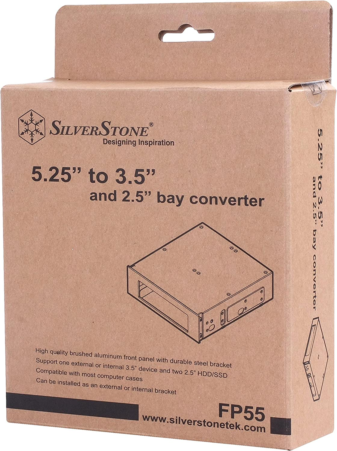 SilverStone FP55S Aluminum Front Panel 5.25-Inch to 3.5-Inch Bay Converter