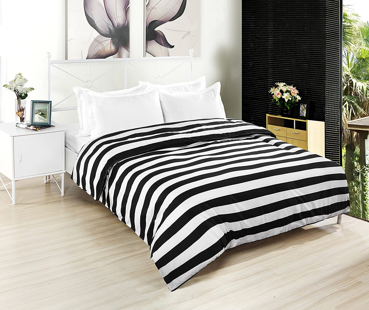 Black and white striped bed sheets - Kuality Black White Striped Soft Microfiber Easy Care Bedding Duvet Cover