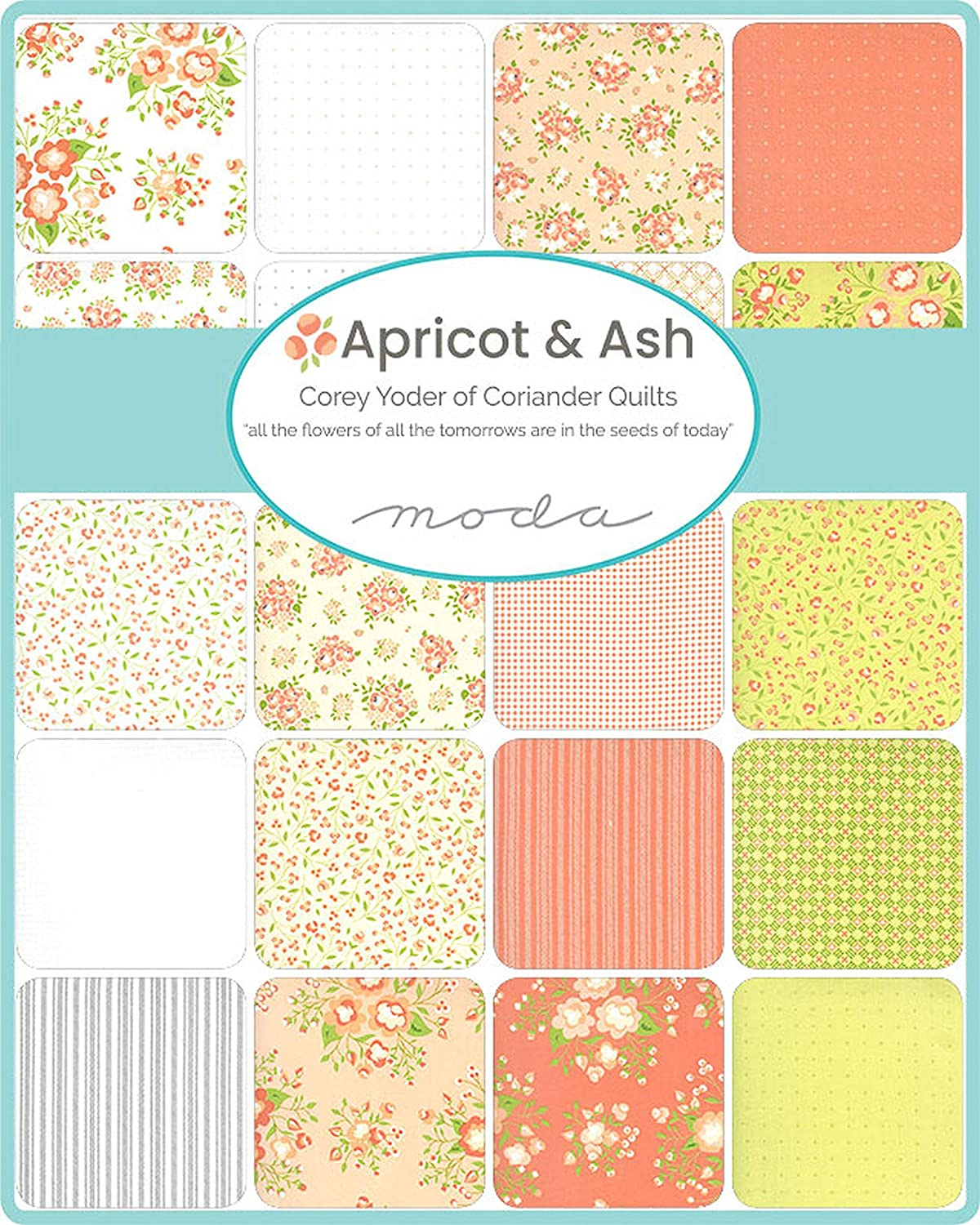 Apricot and Ash Charm Pack by Corey Yoder; 42-5 Inch Precut Fabric Quilt Squares