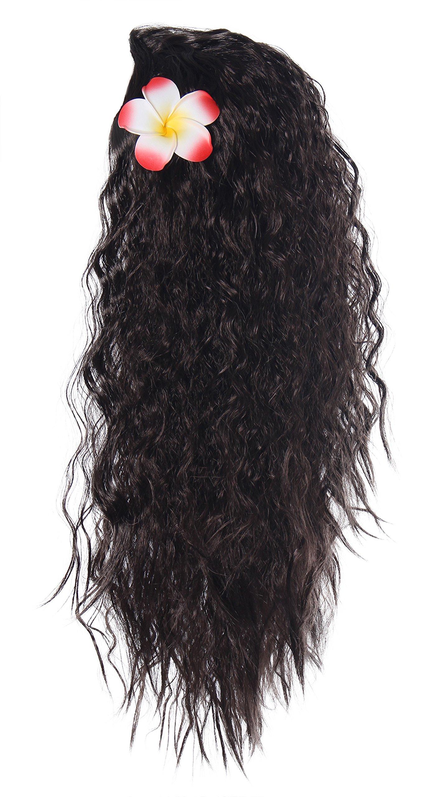 JerrisApparel Little Girls Princess Halloween Cosplay Wig with Plumeria (Brown)