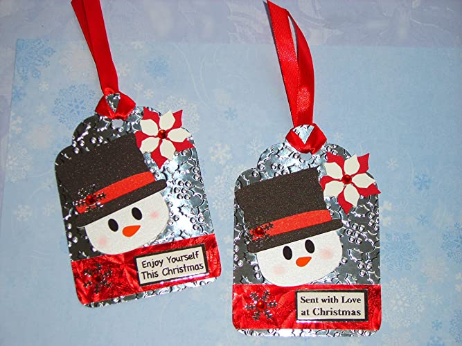 Christmas Toppers For Card Making.2 Handmade Christmas Tag Card Toppers Snowman Snowflakes