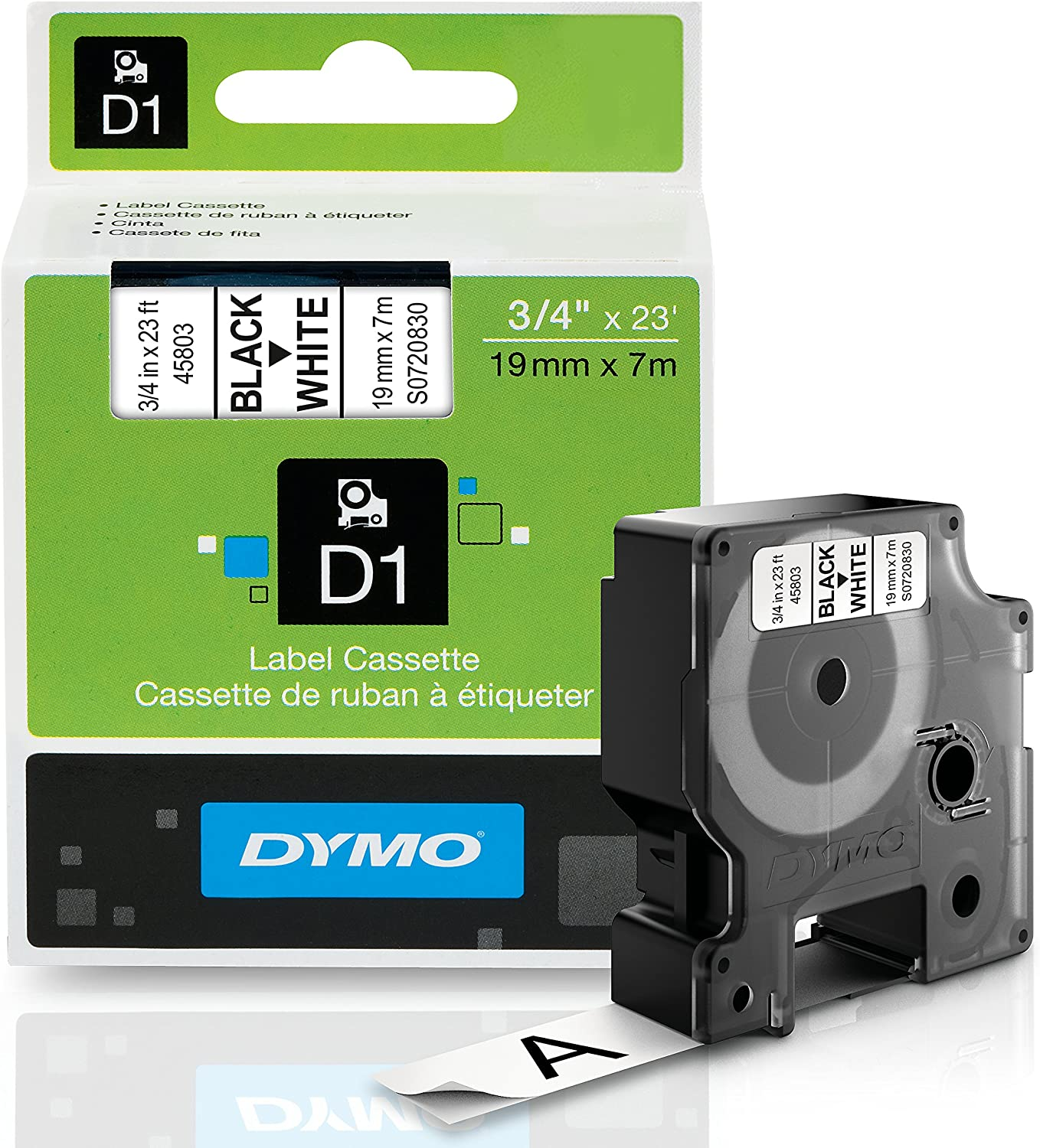 B00002NDRF DYMO Authentic Standard D1 Labeling Tape for LabelManager Label Makers, Black print on White tape, 3/4'' W x 23' L, 1 cartridge (45803) 91J%2B514bKtL