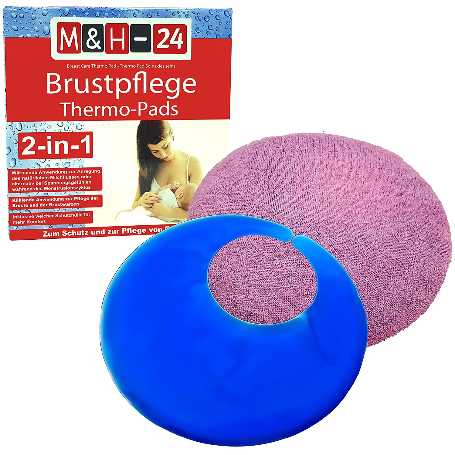 M&H-24 Breast Care Thermal Pads Gel Cooling Pad - Warming & Cooling Application for Wound Breast Warts with Protective Case Cold Therapy & Heat Therapy for Breastfeeding Set of 2