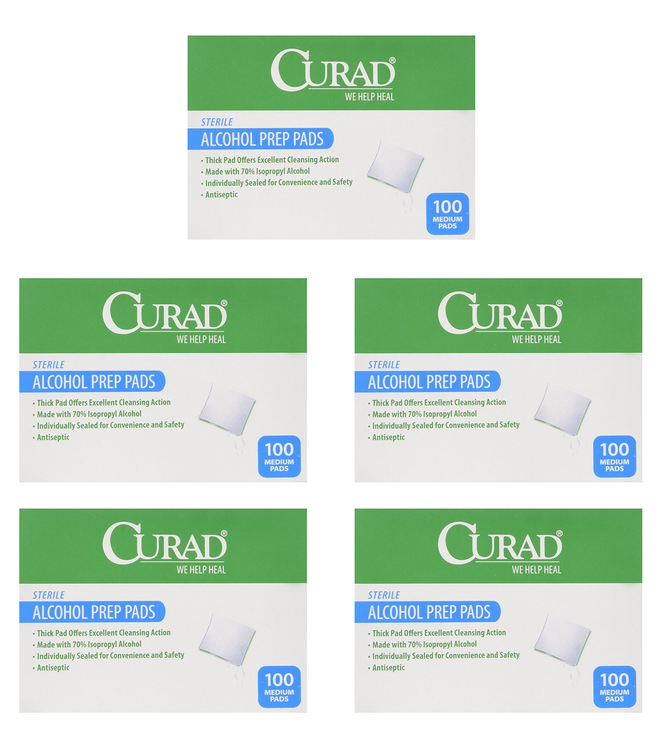 Curad Alcohol Swabs Antiseptic Prep Wipes Sterile Medium Pads Individually Sealed - Ideal for Pre-injection Skin Prepping, 400 Count, 5 Pack