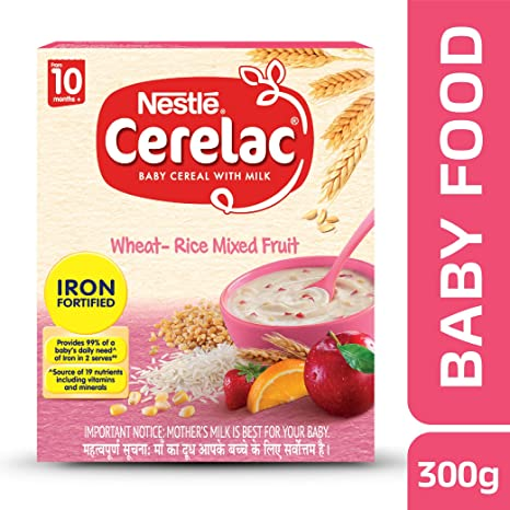 Nestle Cerelac Fortified Baby Cereal with Milk, Wheat-Rice Mixed Fruit � From 10 Months, 300g Pack