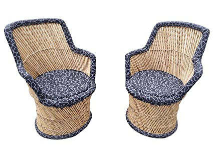 PatioStack Bamboo Leather Handicraft Outdoor Rattan & Wicker Sitting Chairs Furniture Set for Garden / Terrace / Lawn / Balcony / Restaurant / Cafe / Living Room / Drawing Room [ 2 Black Chairs, Size :18*18*34 ]