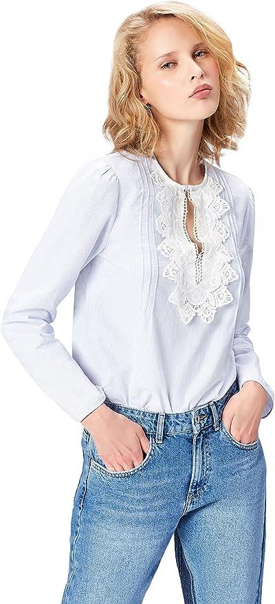 Marca Amazon - find. Camisa con Blonda para Mujer
