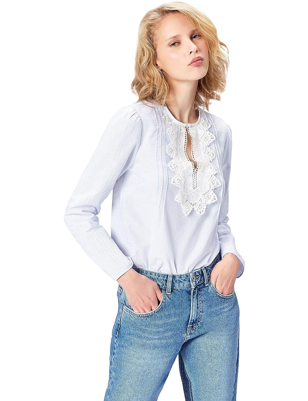 TALLA 36 (Talla del fabricante: X-Small). FIND Camisa con Blonda para Mujer