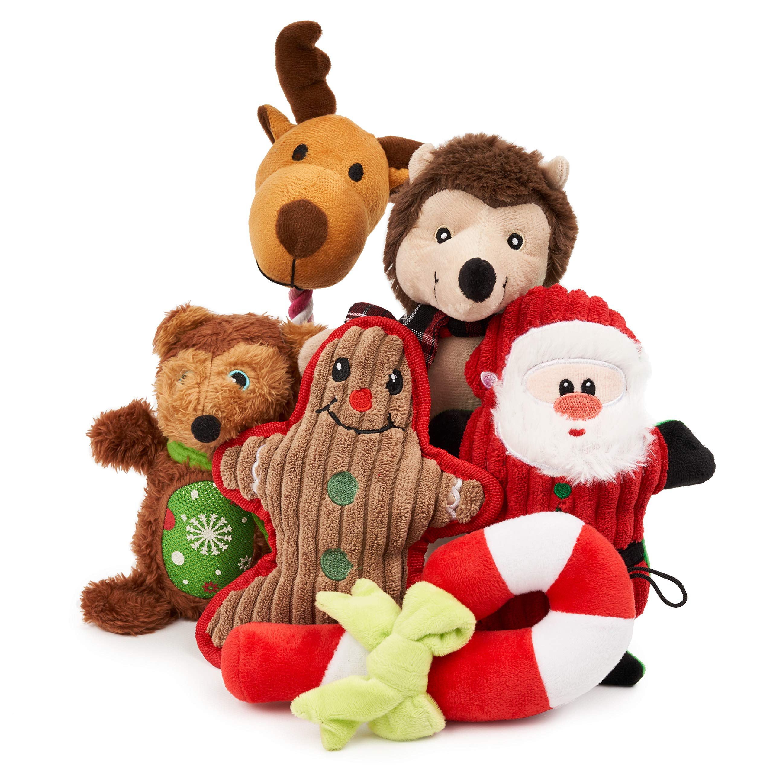 THE TWIDDLERS 6 Christmas Plush Dog Toys| Festive, Squeaky & Soft| Interactive Toys for Puppy, Small & Medium Dogs| Durable, Washable, Non-Toxic| Xmas Gift for Pets.