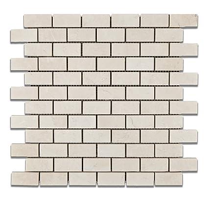 Polished Botticino Brick Marble Kitchen Bath Wall Mosaic Backsplash Tile-1 Sheet