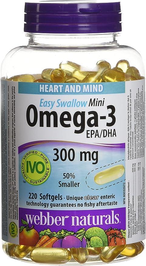 Webber Naturals Easy-Swallow Mini Omega-3, 300 Mg (Epa 180/Dha 120)  220-Count: Amazon.ca: Health & Personal Care