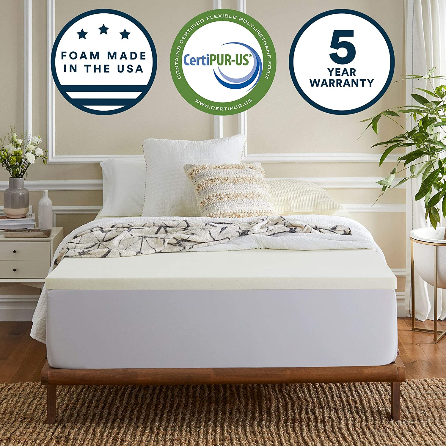 Sleep Innovations 2-inch Gel Memory Foam Mattress Topper Queen, Made in The USA with a 5-Year Warranty
