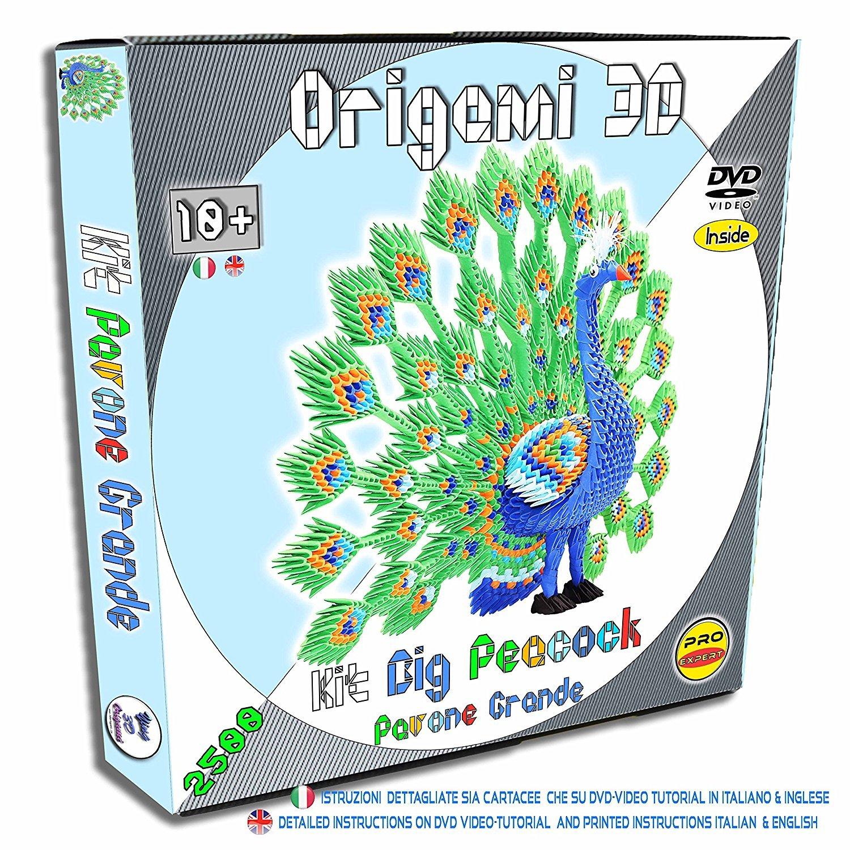 Origami Modulare 3D Kit Pavone Grande - 2500 Pz Di Cartoncino Pre-segnato Pari A 1/32 Su Base A4 - Online Video-Tutorial Istruzioni In Italiano E Inglese anche cartacee - Connessione A Internet Richiesta - Made In Italy- Ying 3D Origami