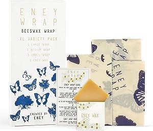 ENEY Premium Organic Beeswax Food Wrap | Butterfly Print | Reusable Food Wrap | Plastic Alternative | Extra Large Set | 1 Large, 1 Medium, 1 Small and 1 Original ENEY Wax Replenisher