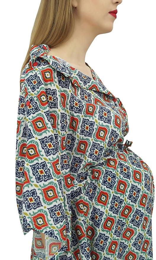 Bimba Vestido Maxi Multicolor con Cordon de la Mama Manga Kimono Maternidad Kaftan-54: Amazon.es: Ropa y accesorios