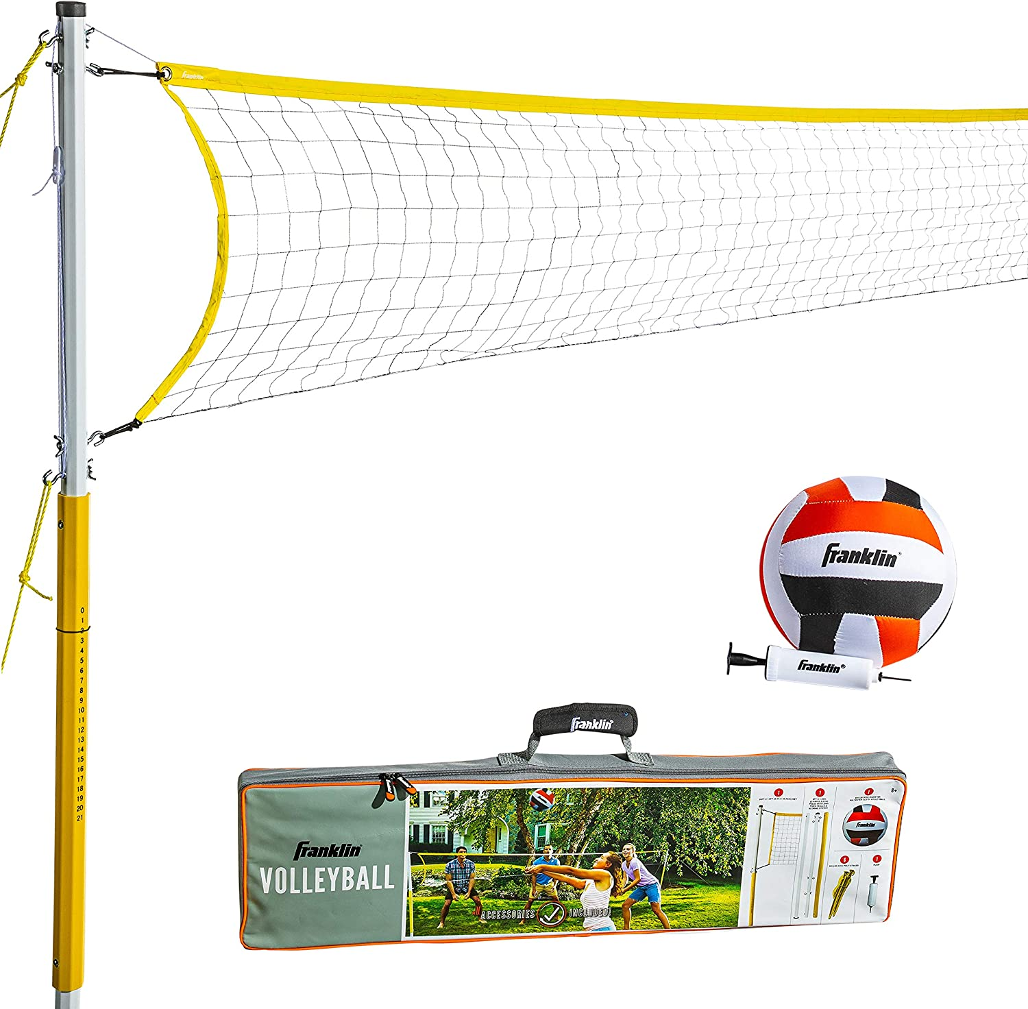 Franklin Sports 52641 Volleyball Net Family Set Includes Cloth Volleyball With Pump Adjustable Net Stakes Ropes Beach Or Backyard Volleyball Easy Setup Sports Outdoors Amazon Canada
