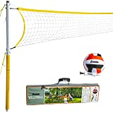 Franklin Sports Volleyball Net and Ball Set — Includes 1 Net with Stakes, 1 Volleyball, and 1 Ball Pump with Needle — Starter, Family, and Professional Set Options