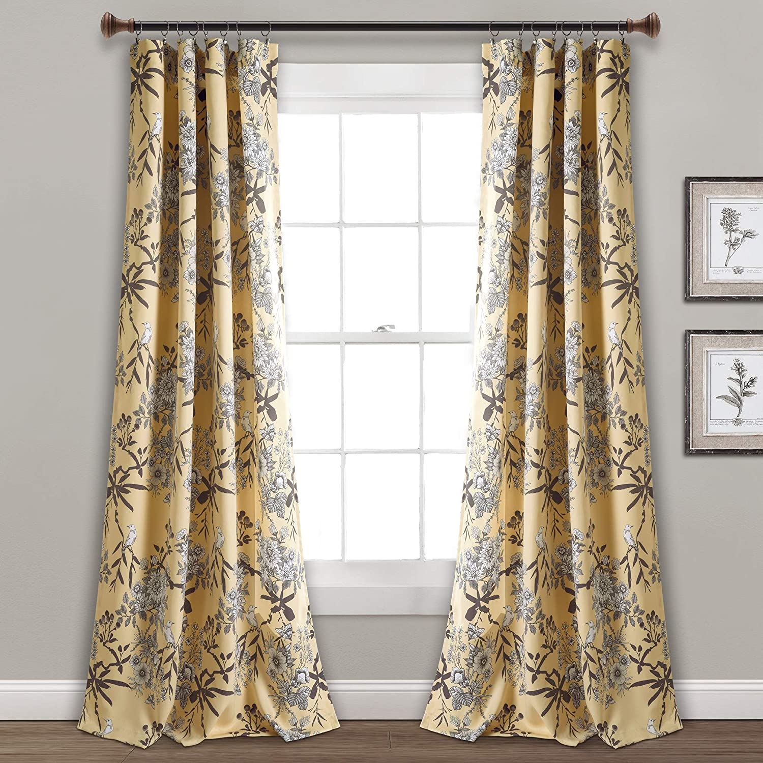 "Lush Decor, Yellow Botanical Garden Curtains Floral Bird Print Room Darkening Window Panel Drapes Set for Living, Dining, Bedroom (Pair), 95"" x 52"""