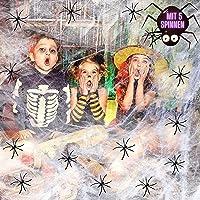 Halloween spinnenweb party decoratie spinnenweven decoratie in wit incl. 5 horrorspinnen, rekbaar tot 15 vierkante meter
