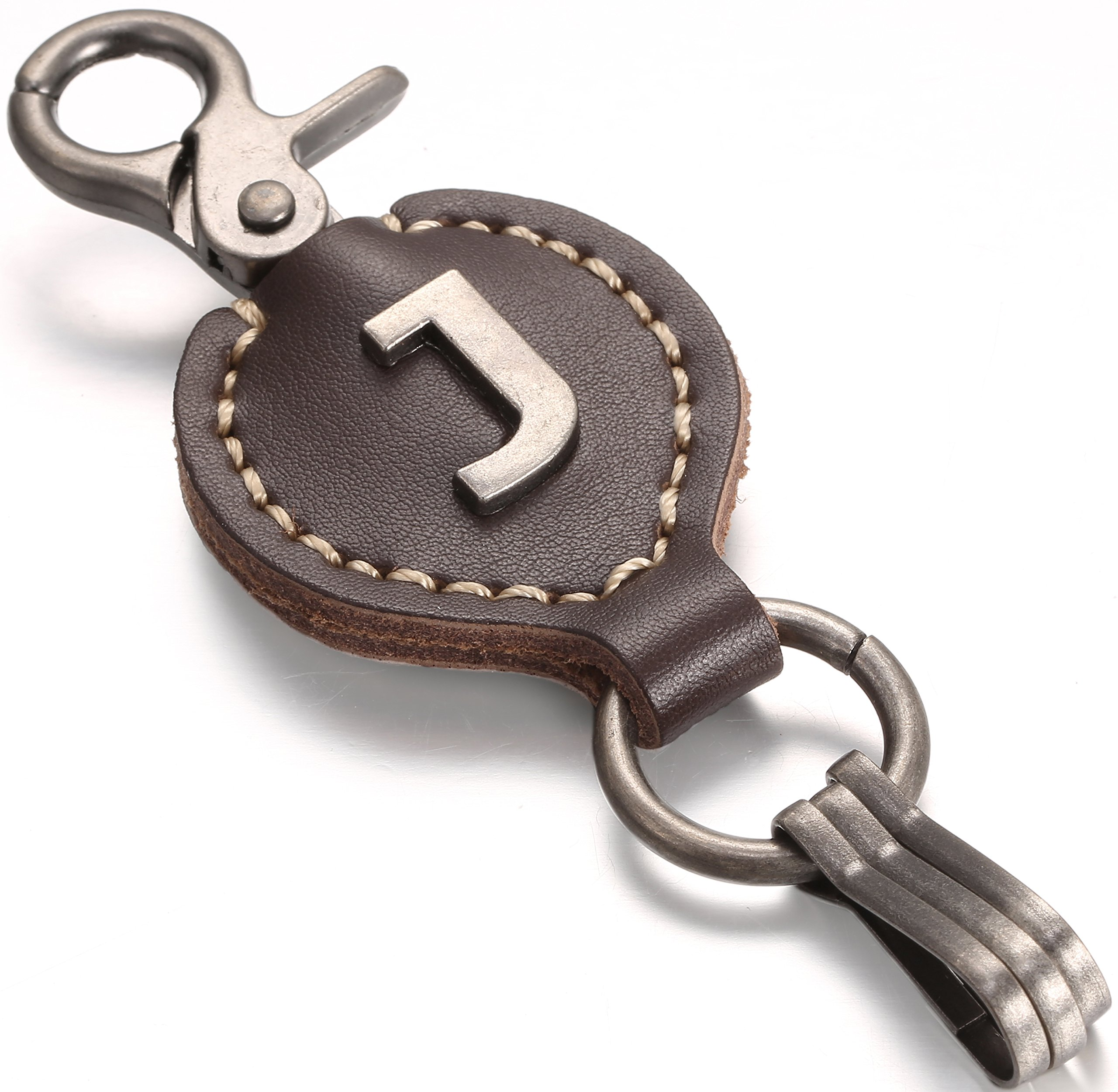 Brown Leather Alphabet Keychain, Single Letter with Easy Clasp Key - by Marino Ave - J - onesize