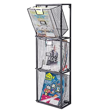 MyGift File Organizer Rack, Wall Mount 3 Drawer Office Filing System, Black