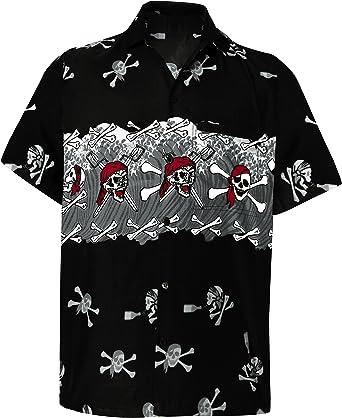 LA LEELA Casual Camisa Hawaiana Manga Corta Bolsillo Delantero hombre impresión De Hawaii Playa Vintage Piratas esqueleto Calabaza Skulls Disfraces De Fiesta De Halloween Cráneo Cosplay Costume XS-7XL: Amazon.es: Ropa y accesorios