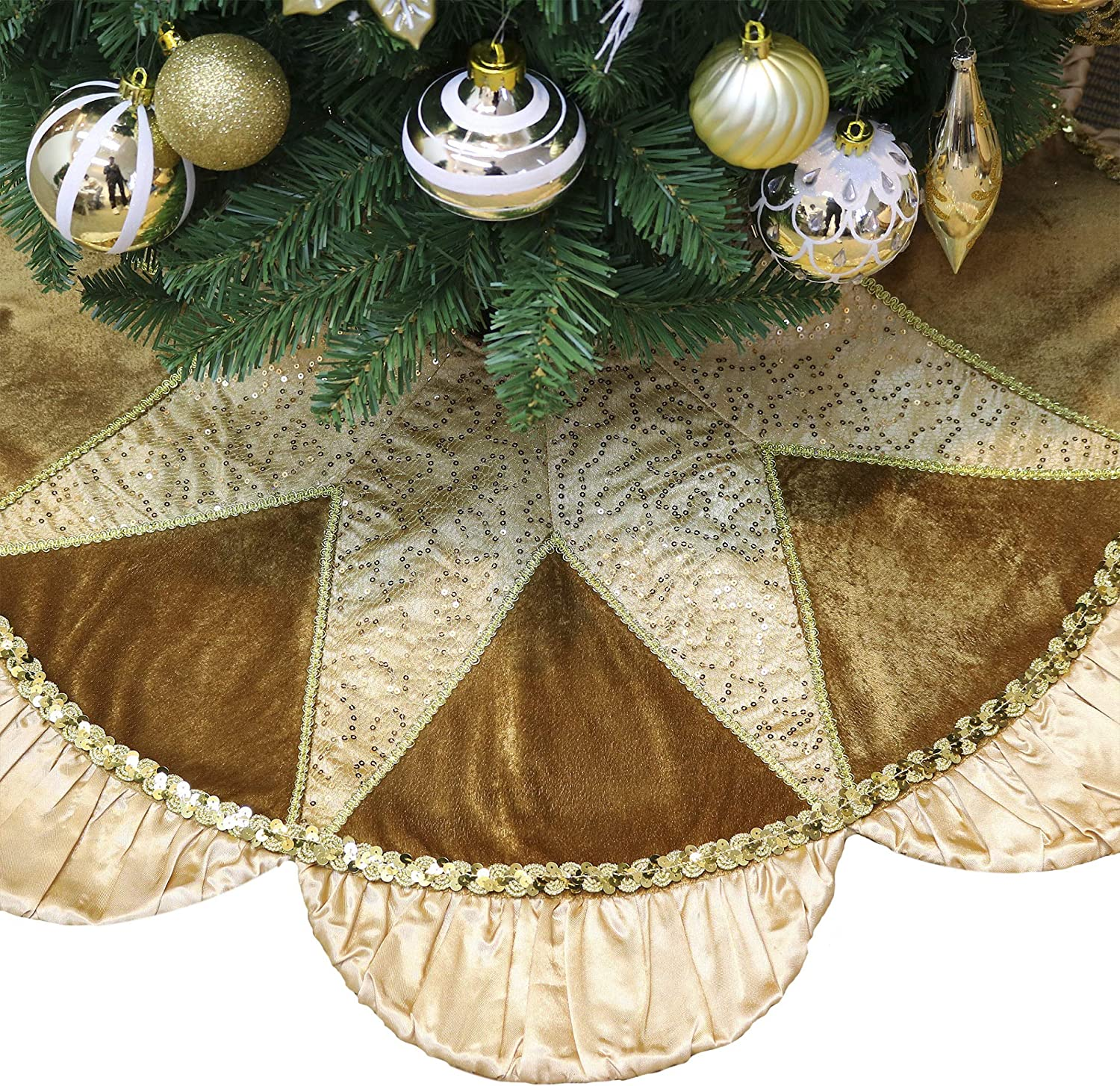 Valery Madelyn 48 Inch Luxury Copper Gold Christmas Tree Skirt Decorations with Sequins and Ruffle, Applique Patchwork, Themed with Christmas Tree Decor (Not Included)