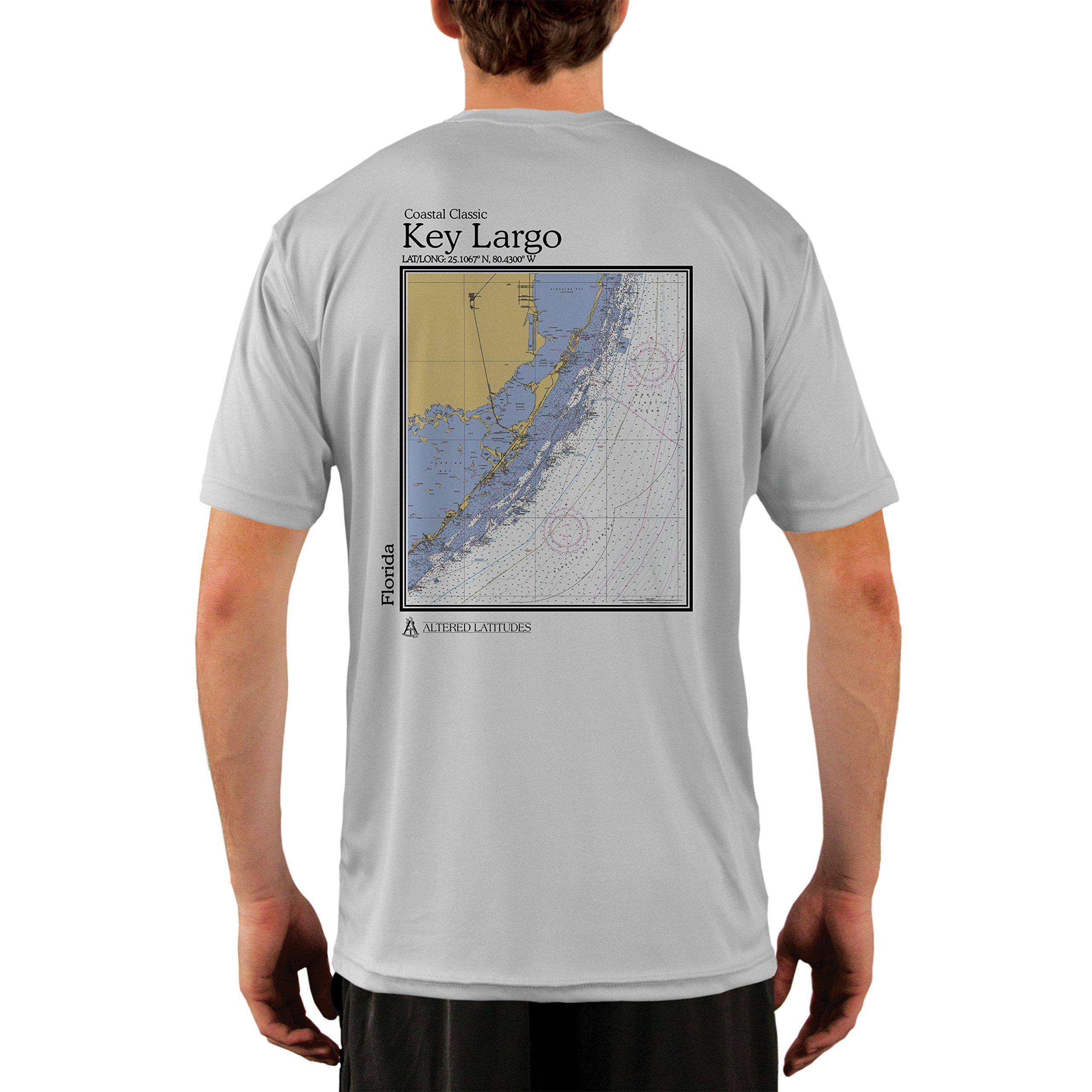 Altered Latitudes Coastal Classics Key Largo Chart Men's UPF 50+ Short Sleeve T-Shirt XX-Large Pearl Grey by Altered Latitudes