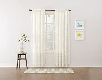 918 Alison Floral Lace Sheer Rod Pocket Curtain Panel, 58u0026quot; X 84u0026quot
