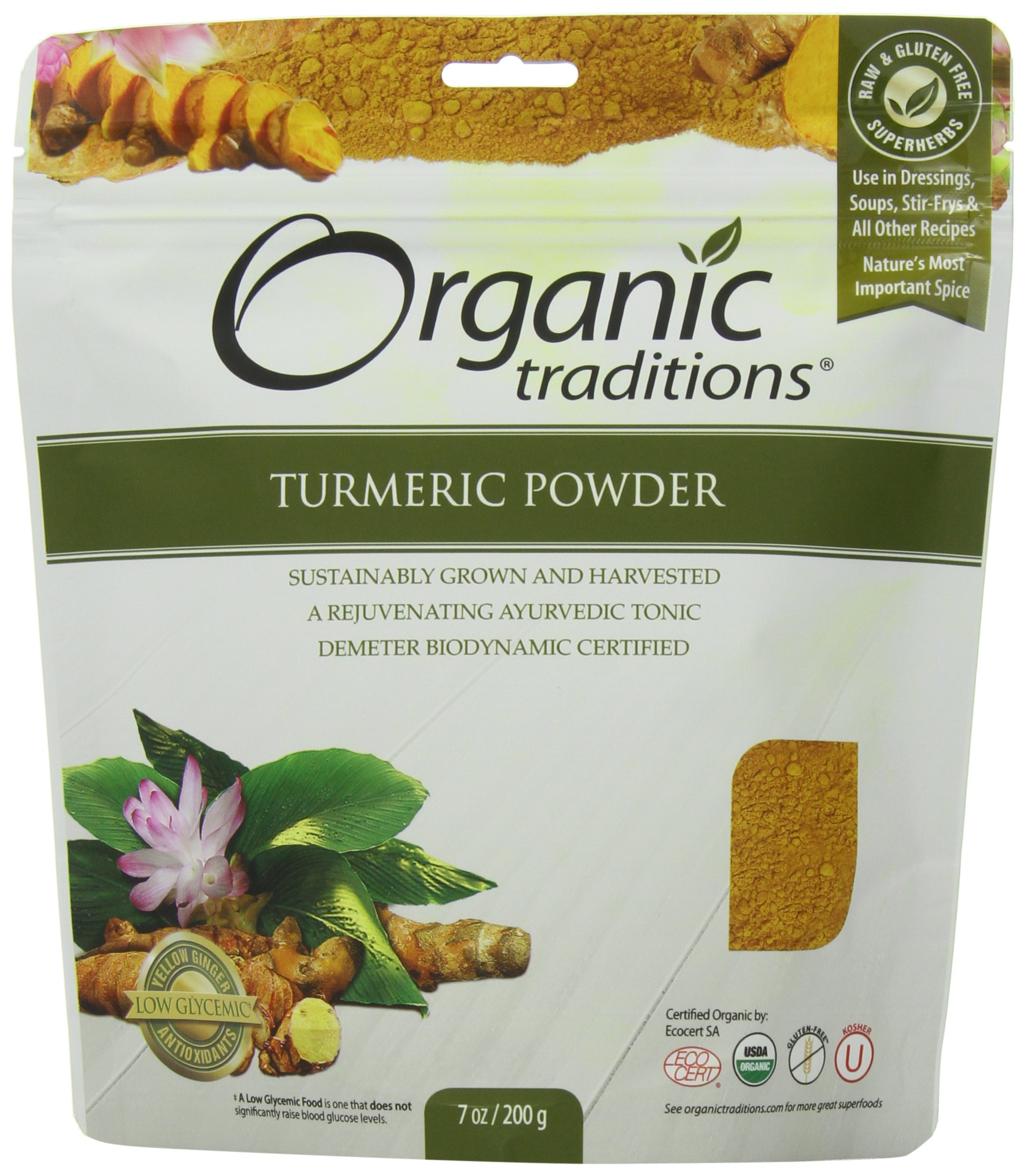 Organic Traditions Organic Powder, Turmeric, 7 Ounce (Pack of 12)