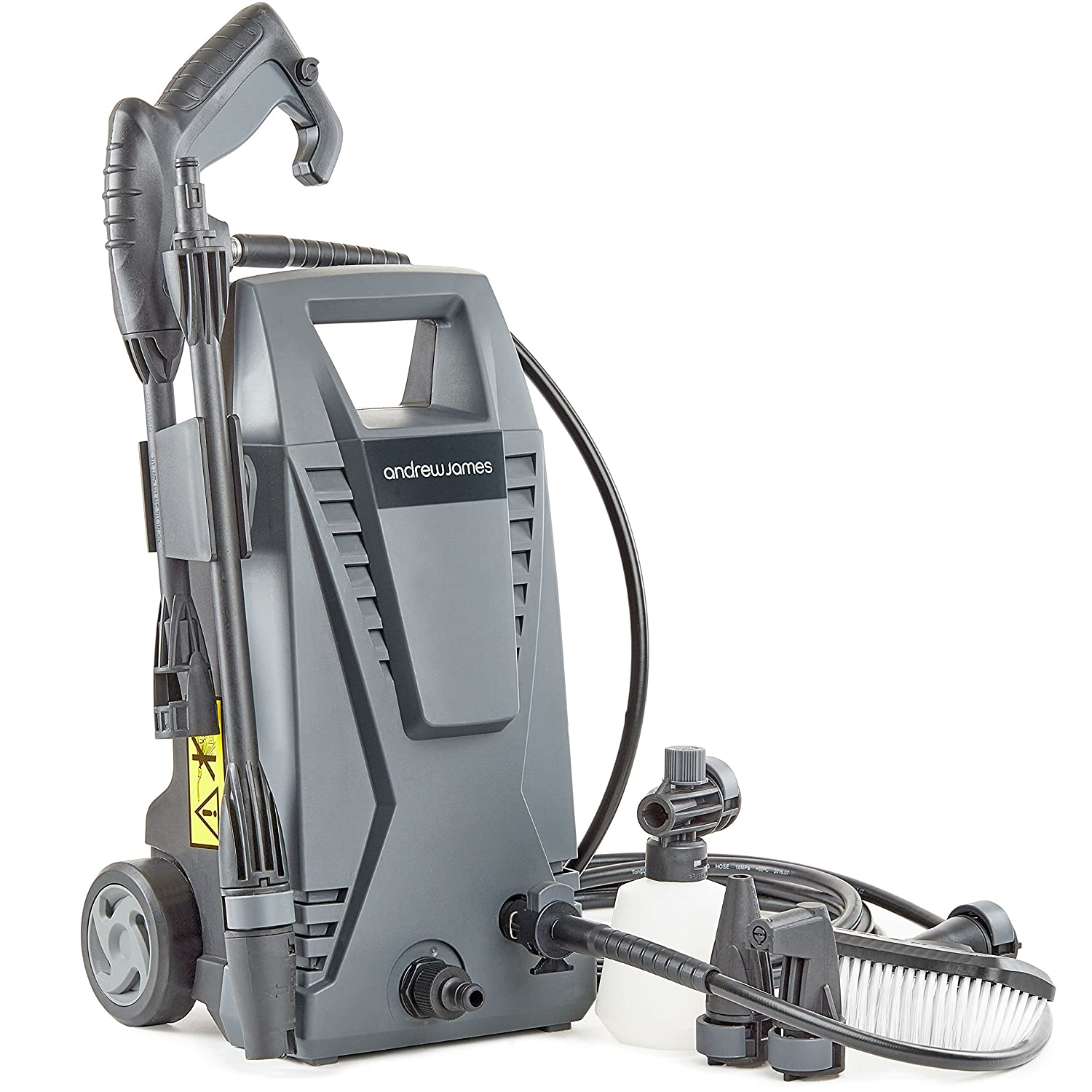 Andrew James Immacuclean Pressure Washer Portable Jet Wash |105 Bar Pressure 330 Litres Per Hour 6m Hose & 5m Cable | Accessories Including Nozzles Brush & Detergent Bottle