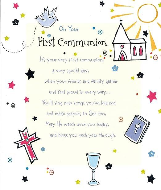 Su Primera Comunión Cute tarjeta de felicitación: Amazon.es ...
