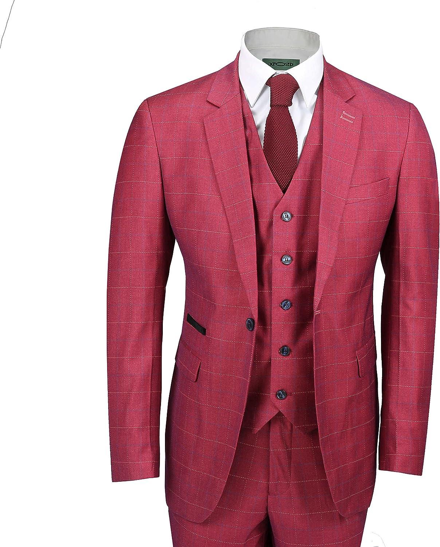 Xposed Uomo 3 Piece Controlli Completo da Uomoborgogna Rosa di Stile dellAnnata vestibilit/à su Misura Giacca Gilet Pantalone
