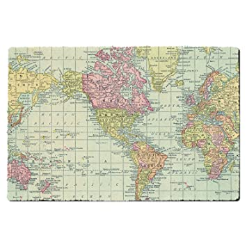 Amazon.com: Antique World Map 1913 Door Mat - Small Door Mat ...