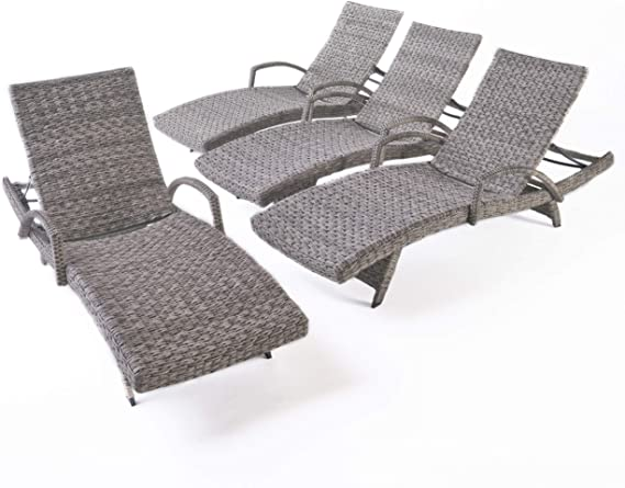 Round Folding Dining Table, Amazon Com Keira Outdoor Armed Aluminum Framed Grey Wicker Chaise Lounge Set Of 4 Garden Outdoor