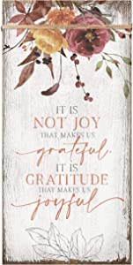Grateful Gratitude Joy Wood Plaque Inspiring Quote 6 3/4 in x 13 5/8 in - Classy Vertical Frame Wall Hanging Decoration | Christian Family Religious Home Decor Saying