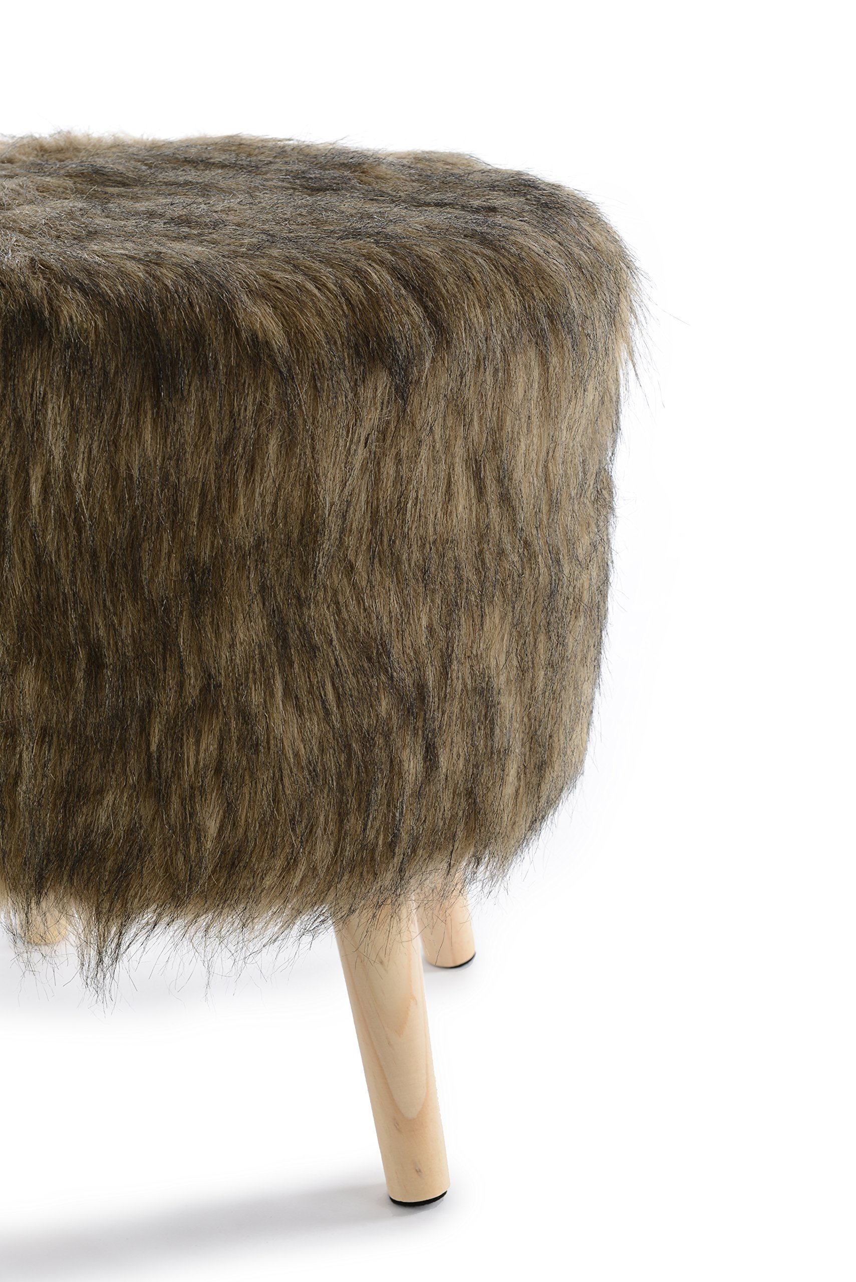Cheer Collection 13'' Round Ottoman | Super Soft Decorative Brown Mink Faux Fur Foot Stool with Wood Legs by Cheer Collection (Image #2)