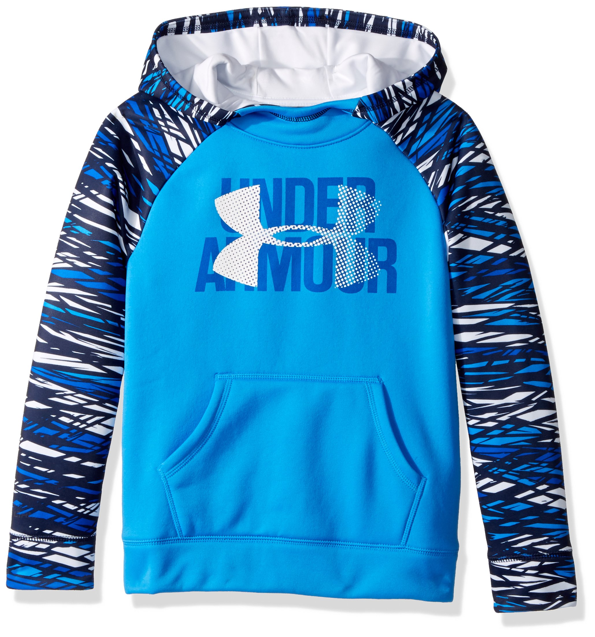 Under Armour Girls' Armour Fleece Big Logo Printed Hoodie, Mako Blue (983)/White, Youth X-Small by Under Armour