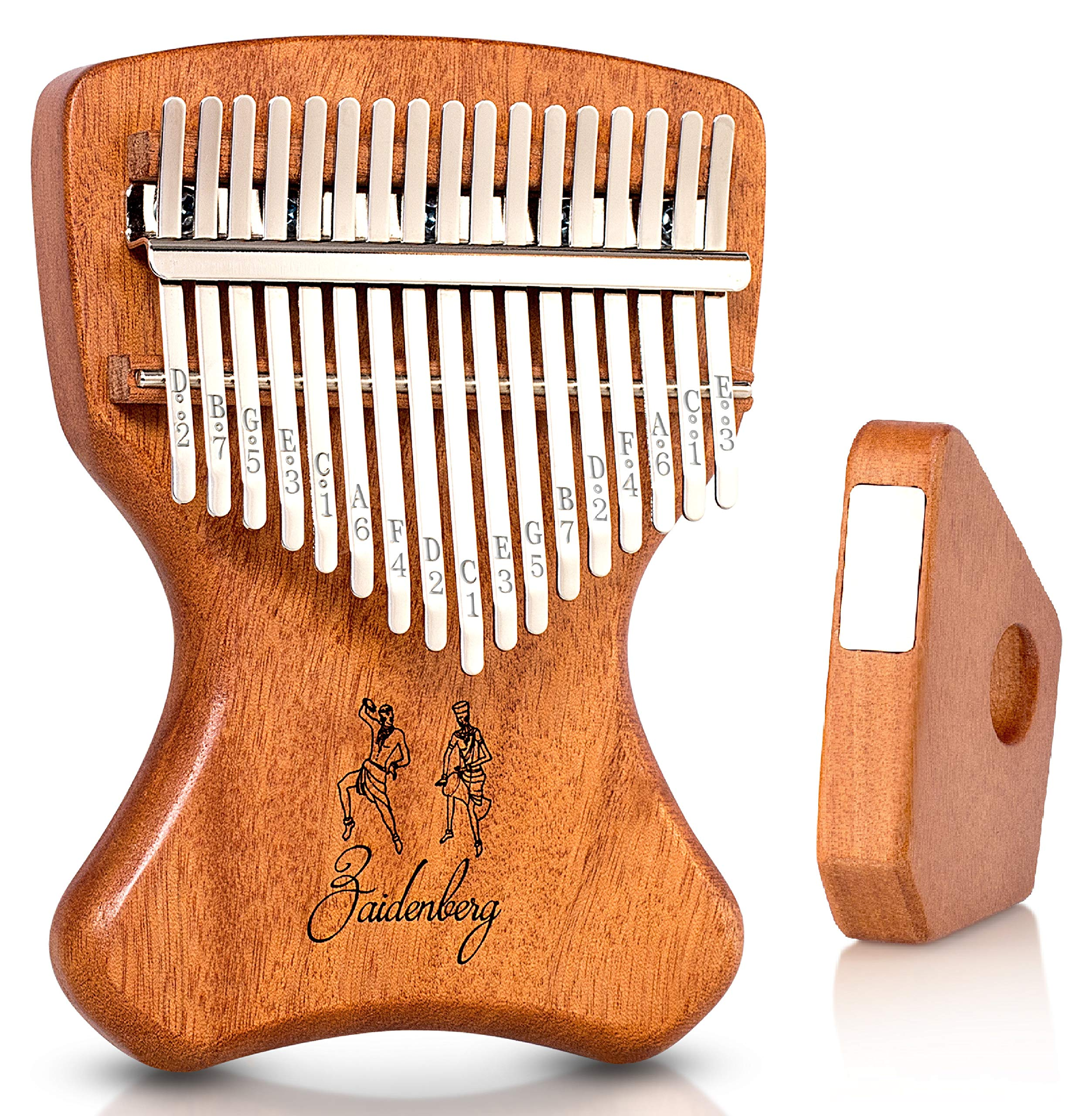 Zaidenberg Kalimba 17 Key Thumb Piano With Unique Design and Exclusive Magnetic Stand | Authentic African Mbira Made of Quality Solid Mahogany Wood | An Extraordinary Musical Instrument for the Soul by Zaidenberg