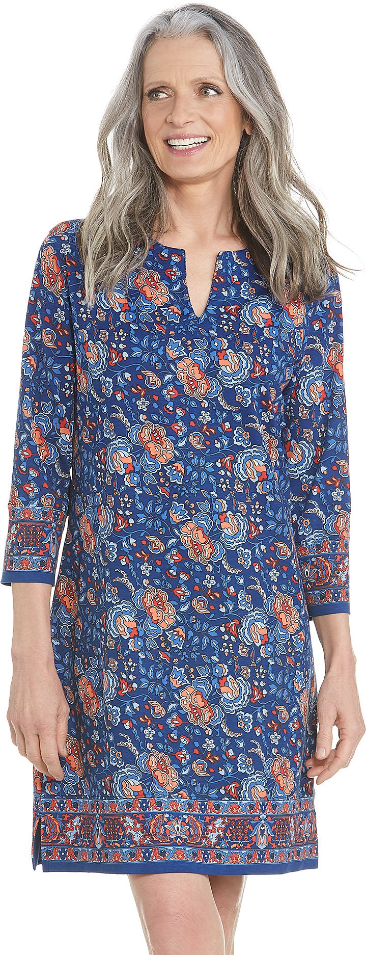 Coolibar UPF 50+ Women's Oceanside Tunic Dress - Sun Protective (2X- Parisian Blue Floral)