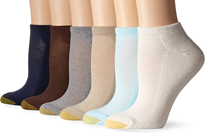 Multi-color 9-11 GOLD TOE Women/'s 6 pack Vacation Liner Socks Athletic