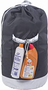 Amelitory Large Backpack Laundry Bag with a Strong Shoulder Strap Storage Bag Drawstring Closure Black