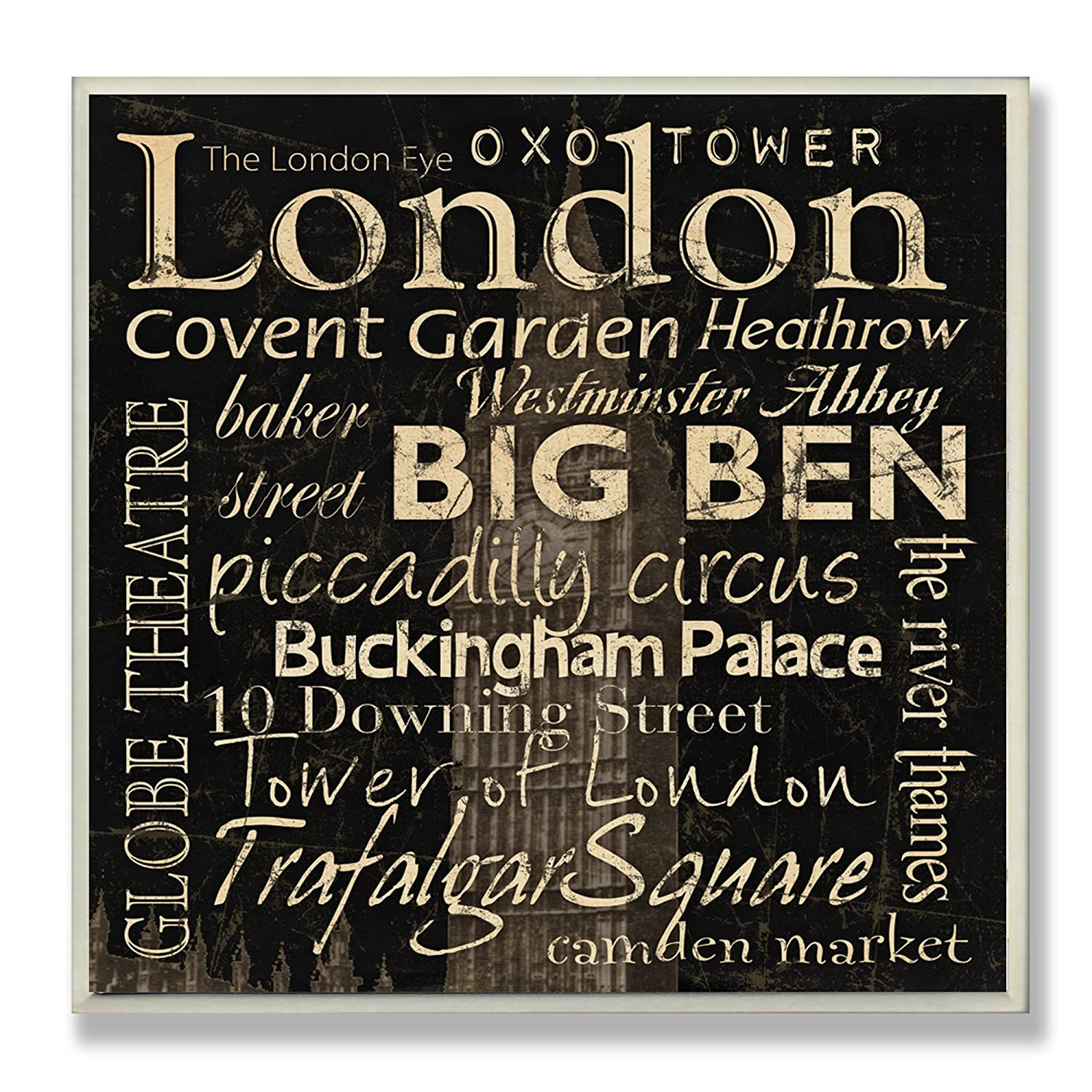 Stupell Home Décor London Landmarks Square Wall Plaque, 12 x 0.5 x 12, Proudly Made in USA