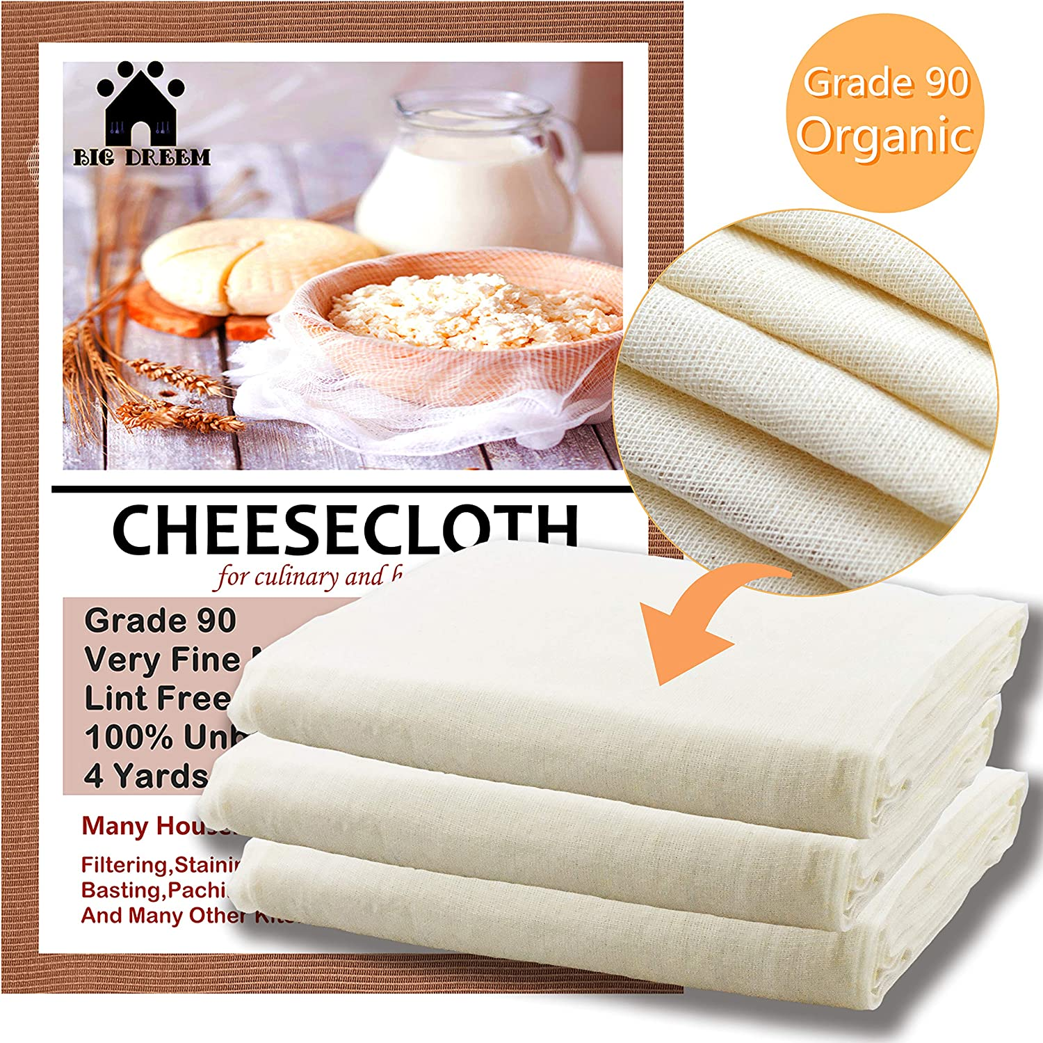 Ultra Fine Cheesecloth for Straining 100% Unbleached Cotton Fabric Grade 90 cheese cloth,Yogurt Strainer Muslin Cloth for Cooking,Filtering, Cheese and Hallowmas Decorations 36 sq.ft (cheesecloth)
