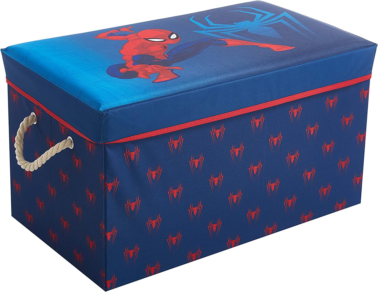 """Idea Nuova Marvel Spiderman Collapsible Toy Storage Bench and Ottoman, 14.5"""" H x 14.5"""" D x 25"""" L"""