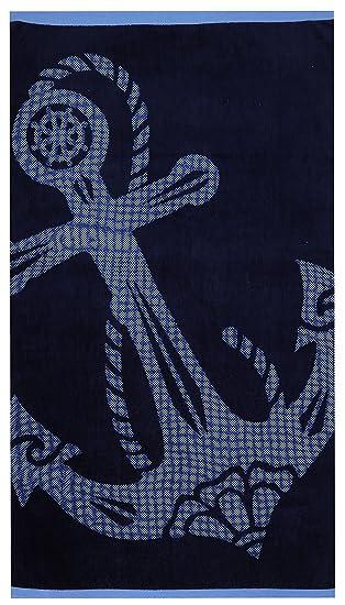 Betz XXL Velours Strandtuch ANKER Duschtuch Liegetuch Strandlaken blau