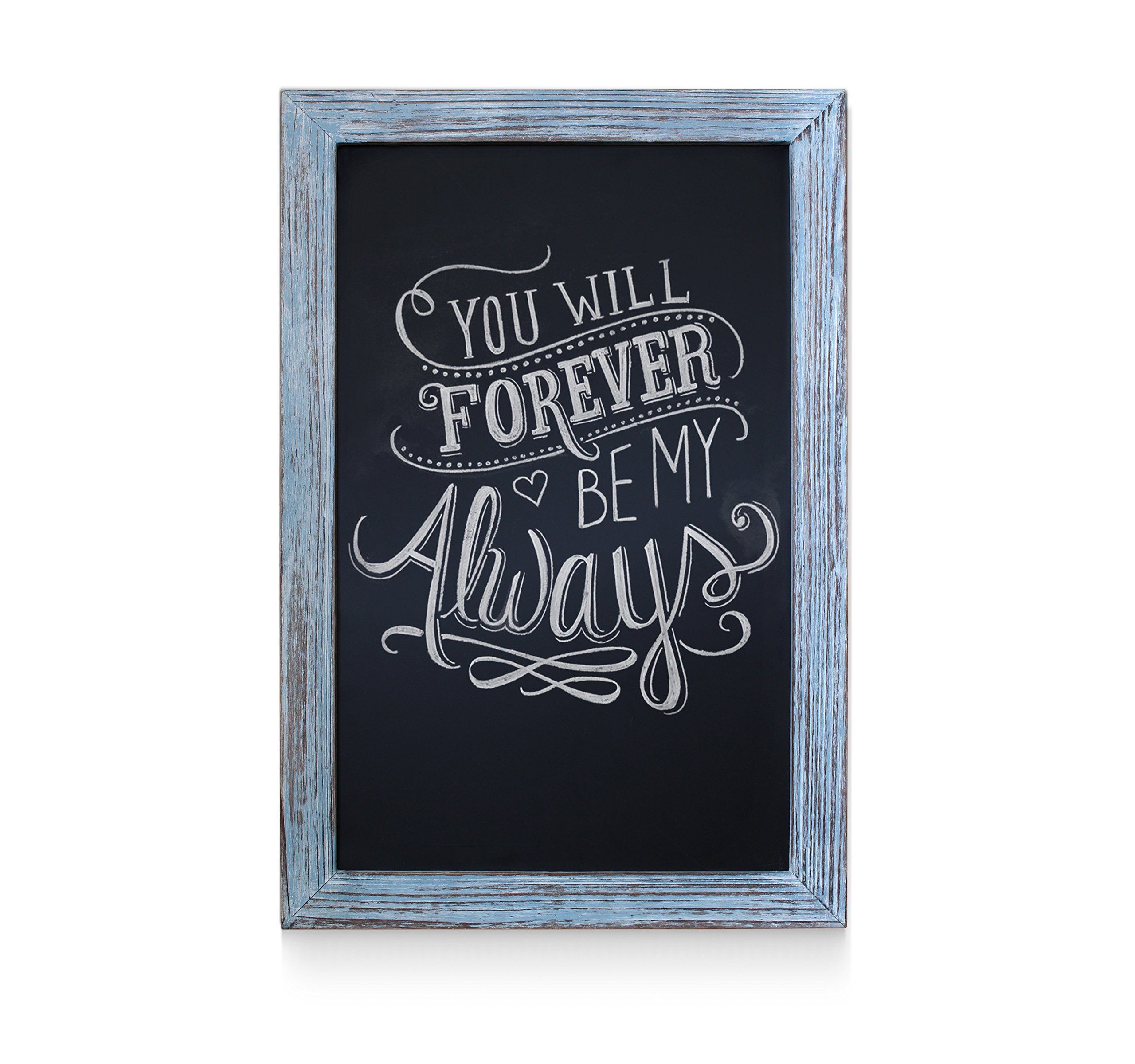 Rustic Blue Magnetic Wall Chalkboard, Extra Large Size 20'' x 30'', Framed Decorative Chalkboard - Great for Kitchen Decor, Weddings, Restaurant Menus and More! … (20''x30'')